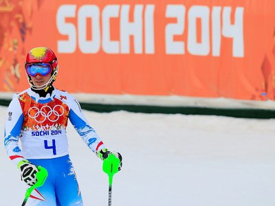 Marcel Hirscher sur la piste du slalom de Rosa Khoutor aux Jeux d'hiver de Sotchi, le 22 février 2014 - ALEXANDER KLEIN [AFP/Archives]