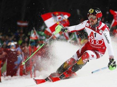 Marcel Hirscher lors de sa dernière course à domicile, en slalom nocturne à Schladming, le 29 janvier 2019 - ERWIN SCHERIAU [APA/AFP/Archives]