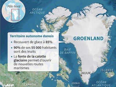 Carte du Groenland et éléments-clés du Territoire autonome danois    Sabrina BLANCHARD [AFP]
