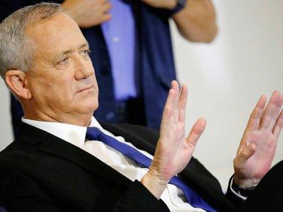 """L'ancien chef de l'état-major de l'armée israélienne Benny Gantz, à la tête du parti centriste """"Bleu-blanc"""" en lice lors des législatives, le 19 septembre 2019 à Tel-Aviv    JACK GUEZ [AFP]"""
