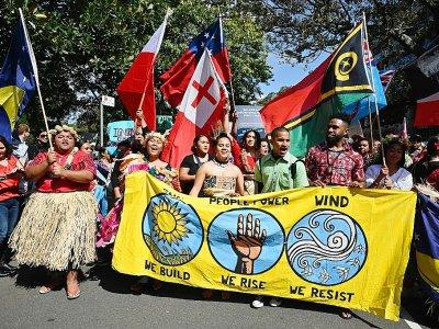 Des manifestants d'atolls du Pacifique manifestent à Sydney, le 20 septembre 2019    PETER PARKS [AFP]