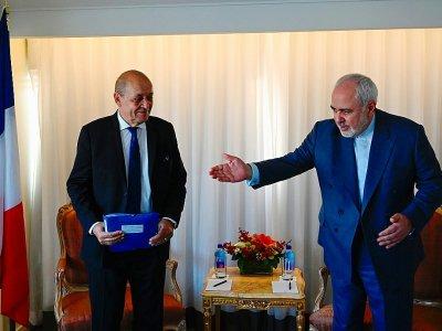Jean-Yves Le Drian et le ministre iranien des affaires étrangèges Mohammad Zarif, à New York le 22 septembre 2019    Johannes EISELE [AFP]