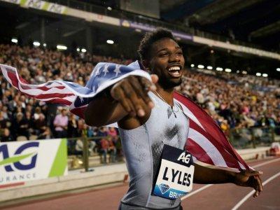 L'Américain Noah Lyles en joie après avoir remporté le 200 m lors du meeting Ligue de diamant de Bruxelles, le 6 septembre 2019    Kenzo TRIBOUILLARD [AFP/Archives]