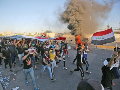 Des Irakiens manifestent à Bagdad, le 4 octobre 2019    AHMAD AL-RUBAYE [AFP]