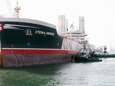 Le pétrolier suédois battant pavillon britannique, le Stena Impero, libéré par l'Iran est arrivé au port Rachid de Dubaï, le 28 septembre 2019    Christopher Pike [POOL/AFP]