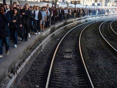 Quai de la gare Saint-Lazare à Paris le 19 avril 2018, jour de grève SNCF contre la réforme ferroviaire - Christophe SIMON [AFP/Archives]