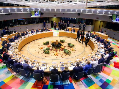 Les présidents et chefs de gouvernement réunis au sommet de Bruxelles, le 17 octobre 2019    Olivier Matthys [POOL/AFP]