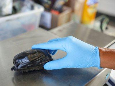 Un paquet de fentanyl saisi au poste-frontière californien de San Ysidro, le 2 octobre 2019    SANDY HUFFAKER [AFP]