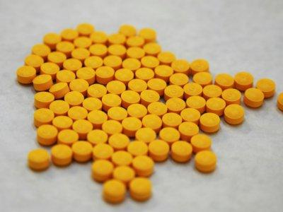 Des comprimés soupçonnées de contenir du fentanyl, dans le laboratoire de la DEA à New York, le 8 octobre 2019    Don Emmert [AFP]