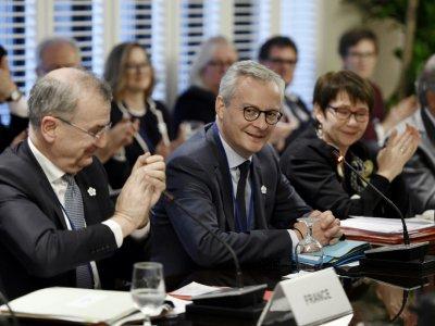 Le ministre français de l'Economie, Bruno Le Maire (c), lors d'une réunion du FMI et de la Banque Mondiale, le 17 octobre 2019 à Washington    Olivier Douliery [AFP]