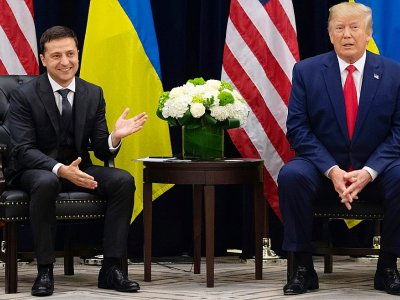 Donald Trump et son homologue ukrainien Vladimir Zelensky, à New York, le 25 septembre 2019