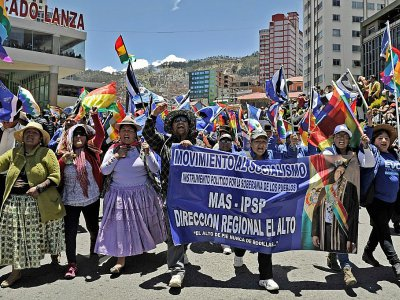 Des partisans du président socialiste Evo Morales manifestent à La Paz, le 23 octobre 2019    JORGE BERNAL [AFP]