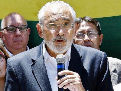 Carlos Mesa, le principal rival d'Evo Morales à la présidentielle, à La Paz le 24 octobre 2019    AIZAR RALDES [AFP]
