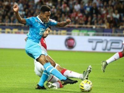 Le milieu de l'OM Marley Aké lors du match  contre Monaco en Coupe de la Ligue au stade Louis II, le 30 octobre 2019    VALERY HACHE [AFP]
