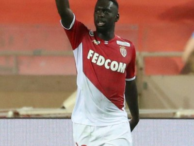 L'attaquant de Monaco Jean-Kevin Augustin buteur contre Monaco au stade Louis II en Coupe de la Ligue, le 30 octobre 2019    VALERY HACHE [AFP]