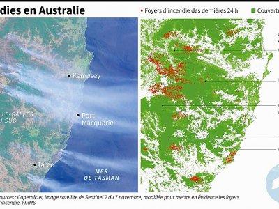 Photos satellites de localisation des incendies qui ravagent l'est de l'Australie, foyers d'incendie des dernières 24 heures - Patricio ARANA [AFP]