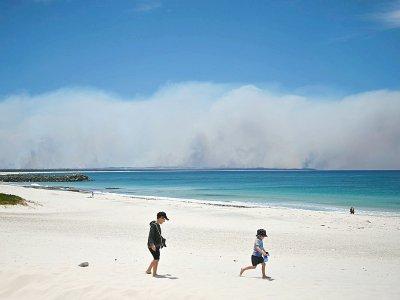D'une plage proche de la petite station balnéaire de Forster, sur la côte est de l'Australie, on voit la fumée des nombreux incendies menaçant la ville, le 9 novembre 2019 - PETER PARKS [AFP]