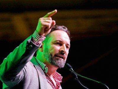 Le leader du parti d'extrême droite Vox, Santiago abascal, prononce un discours durant un meeting de campagne, à L'Hospitalet del Llobregat, près de Barcelone, le 31 octobre 2019    Pau Barrena [AFP/Archives]