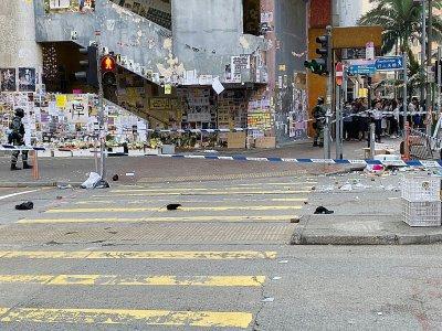 Le site précis où un policier a tiré sur un protestataire, le 11 novembre 2019 à Hong Kong    Su XINQI [AFP]