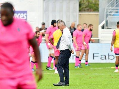 Heyneke Meyer lors du déplacement du Stade Français, à Castres pour le compte du Top 14, le 5 octobre 2019    REMY GABALDA [AFP/Archives]