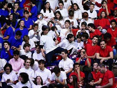 Des supporters français en tribune lors d'un match de Coupe Davis opposant la France et la Serbie, le 21 novembre 2019, à Madrid    OSCAR DEL POZO [AFP]