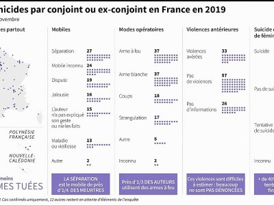 Les féminicides par conjoint ou ex-conjoint en France en 2019    Sabrina BLANCHARD [AFP]