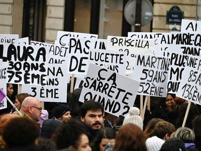 """Manifestation à Paris le 23 novembre 2019 pour dire """"stop"""" aux violences sexistes et sexuelles et aux féminicides - DOMINIQUE FAGET [AFP]"""