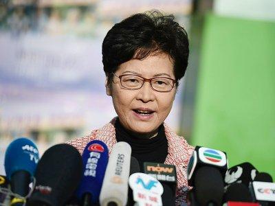 La cheffe de l'exécutif à Hong Kong, Carrie Lam, lors d'une conférence de presse le 24 novembre 2019    Ye Aung Thu [AFP]