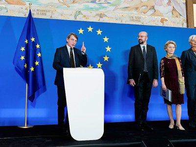 Les nouveaux leaders de l'Union européenne, de gauche à droite le président du Parlement européen David Sassoli, le président du Conseil européen Charles Michel, la présidente élue de la Commission européenne Ursula von der Leyen, et la présidente de    Kenzo TRIBOUILLARD [AFP]