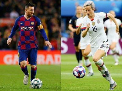 L'Argentin Lionel Messi et l'Américaine Megan Rapinoe, grands favoris du Ballon d'or 2019 - Josep LAGO, FRANCK FIFE [AFP/Archives]
