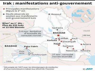 Carte et localisation des manifestations anti-gouvernement en Irak depuis le 1er octobre    Gal ROMA [AFP]