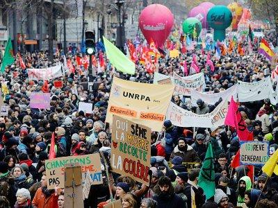 Manifestation contre la réforme des retraites, le 5 décembre 2019 à Paris - Thomas SAMSON [AFP]