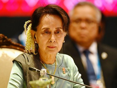 La dirigeante birmane Aung San Suu Kyi lors du sommet ASEAN-Japon, le 4 novembre 2019 à Bangkok, en Thaïlande    Lillian SUWANRUMPHA [AFP/Archives]