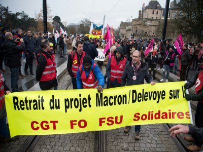Manifestation contre la réforme des retraites, à Nantes,le 10 décembre 2019    Loic VENANCE [AFP]
