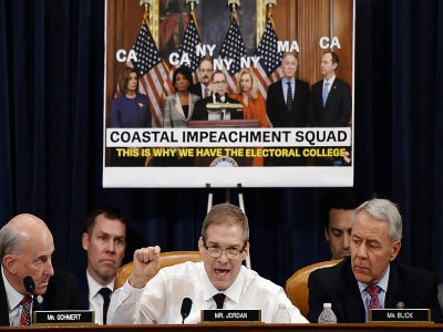 Un membre républicain de la commission judiciaire, Jim Jordan, participe au débat, le 11 décembre 2019, sur l'acte d'accusation de Donald Trump, dans le cadre de la procédure de destitution qui vise le président américain    Olivier Douliery [AFP]