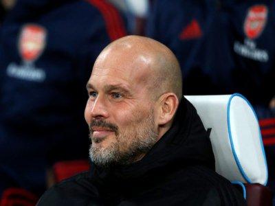 L'entraîneur intérimaire d'Arsenal Freddie Ljungberg suit le match contre West Ham en Premier League, le 9 décembre 2019 à Londres - Adrian DENNIS [AFP]