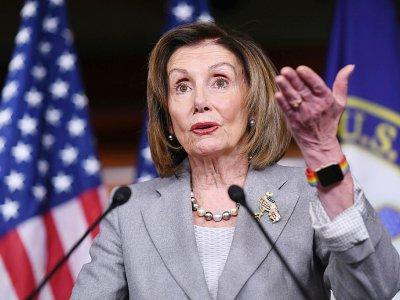 La chef démocrate au Congrès Nancy Pelosi lors d'une conférence de presse à Washington le 12 décembre 2019    SAUL LOEB [AFP]