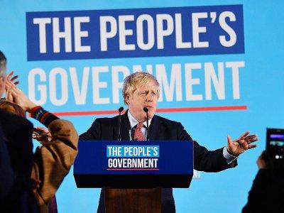 Le Premier ministre britannique Boris Johnson célèbre sa victoire aux élections législatives le 13 décembre 2019 dans le centre de Londres    Ben STANSALL [AFP]