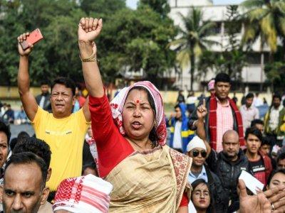 Manifestation contre une loi controversée sur la naturalisation de réfugiés à Guwahati le 13 décembre 2019    Sajjad  HUSSAIN [AFP]