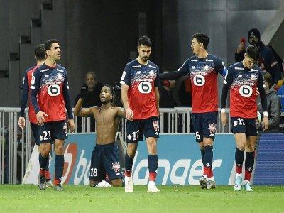 Renato Sanches fête avec ses coéquipiers le but de la victoire lilloise contre Montpellier à Villeneuve-d'Ascq, le 13 décembre 2019    FRANCOIS LO PRESTI [AFP]