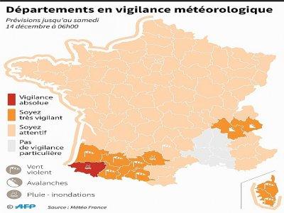 Départements en vigilance météorologique     [AFP]