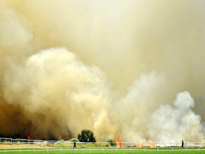 Un incendie ravage les abords du stade de cricket de la ville australienne de Perth, le 13 décembre 2019    Peter PARKS [AFP]