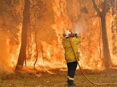 Un pompier lutte contre un incendie, le 10 décembre 2019 à Central Coast, à une centaine de kilomètres au nord de Sydney, en Australie    Saeed KHAN [AFP/Archives]