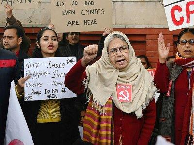 Des manifestants à New Delhi contre la nouvelle loi sur la citoyenneté, le 19 décembre 2019    Money SHARMA [AFP]