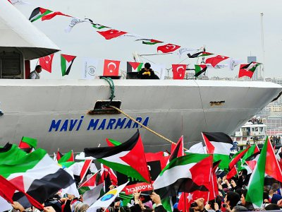 Le navire turc Mavi Marmara dans le port de Sarayburnu à Istanbul, le 26 décembre 2010    MUSTAFA OZER [AFP/Archives]