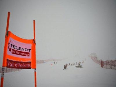 Vue de la descente de la Coupe du monde de ski alpin dames de Val d'Isère dans le brouillard, le 21 décembre 2019    Jeff PACHOUD [AFP]