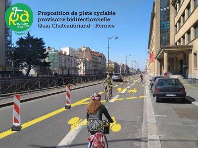 Exemple d'aménagement temporaire à Rennes.    Association Sabine