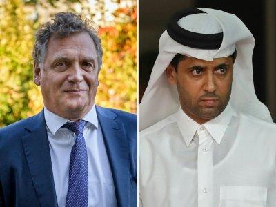 L'ex-secrétaire général de la Fifa Jérôme Valcke (g) à Lausanne le 11 octobre 2017 et le président du Paris SG Nasser Al-Khelaifi (d) le 15 janvier 2019 à Doha - Fabrice COFFRINI, Karim JAAFAR [AFP/Archives]