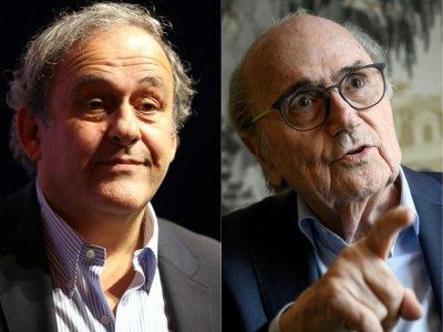 Michel Platini (g) le 22 novembre 2019 à Nice et Sepp Blatter (d), le 31 août 2020 à Zürich - VALERY HACHE, Fabrice COFFRINI [AFP/Archives]
