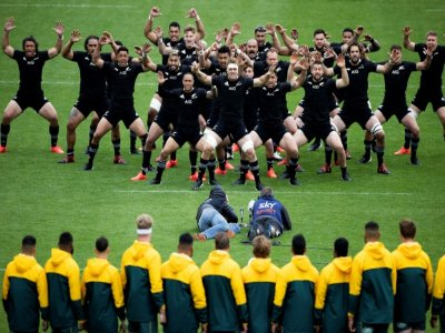 Le haka des All Blacks, avant leur match contre l'Australie le 11 octobre 2020 à Wellington